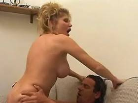 Blond mature rides cock of lewd guy