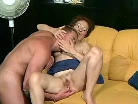Old lewd granny gets to suck big hard young dick