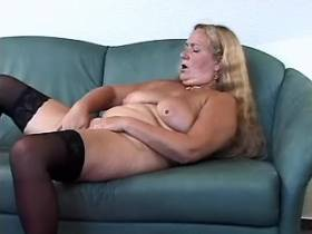 Desperate Granny has to fuck her own self on sofa
