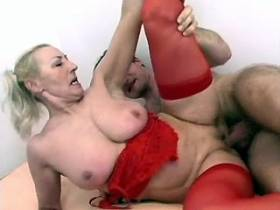 Old slut in red underwear nailed hard in docs office