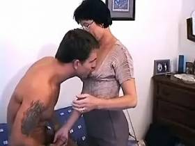 Boring Mom in glasses fucked doggie style by hot guy