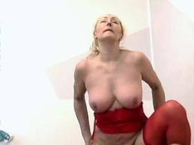 Lewd old granny in red underwear rides young dick