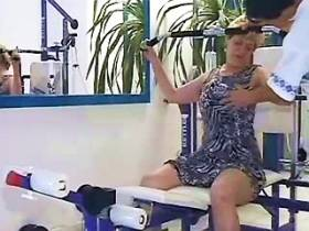 Horny grandma saduces and blows young sexy coach in gym