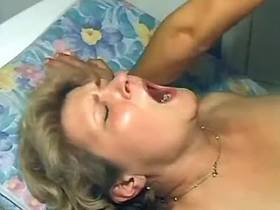 After nailing Granny tastes fresh cum from young dick
