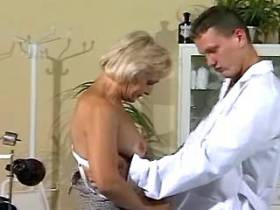 Granny seduces young sexy doctor during check up