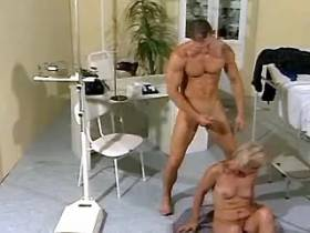 Granny gets nailed by young doctor in kinky position