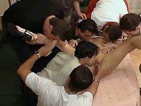 A bunch of guys nail horny dirty mature on table