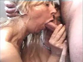 Three hungry moms serve man in group and taste cum