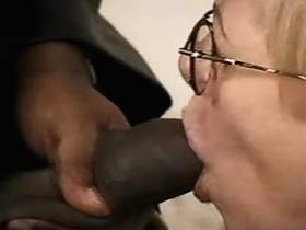 Blackie jizzing on tits of granny after hard sex