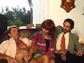 Mature has fuck with two men in all holes on sofa
