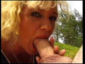 Guy fucking blonde lewd mature in her ass outdoor