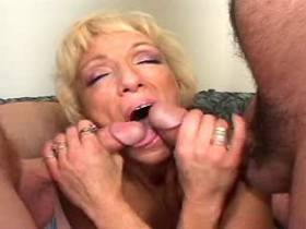 Lusty blonde mature gets facial after hot gandbang