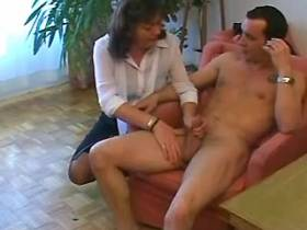 Brunette mature in stockings has fuck in all holes