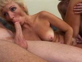 Blonde hot mature licks cum on cock after gangbang