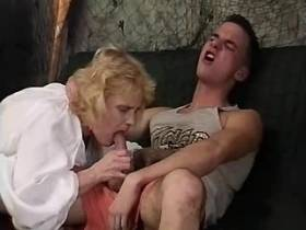 Blonde aged mature gets cum on tits after hard sex