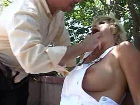 Blonde mature gets facial after fuck in all holes