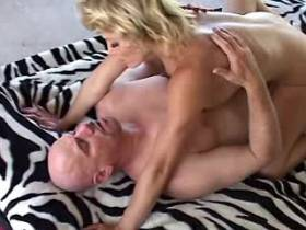 Blonde mature tasting cum after fuck with bald man