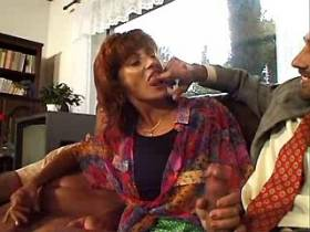 Redhair mature gets facial from cocks after orgy