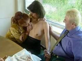 Crummy mature and girl giving blowjob to aged man