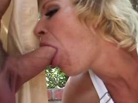 Blonde matures fucks with bald man and catches cum