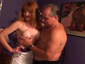 Redhead milf has sex from behind and gets cum on ass