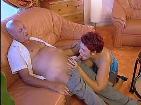 Crummy redhair mature fucks on sofa and gets cum
