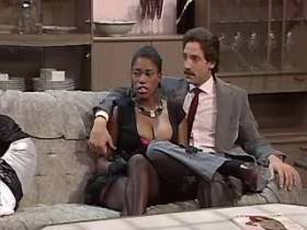 Blackie lewd mature sucking big white cock on sofa