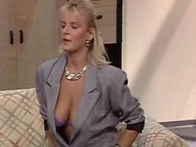 Blonde cute milf sucks cocks and fucks with two guys