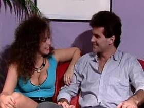 Longhair milf sucks cock and fucks with guy on sofa