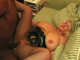 Blonde mature with big tits gets big black cock