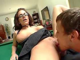 Cute busty milf jumping on cock and getting facial