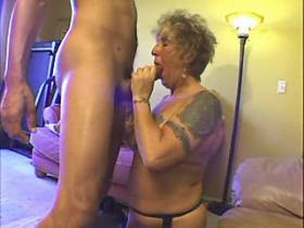 Tattooed blonde aged mom gets cock in deep pussy