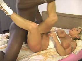 Blonde mature has fuck with blacky and gets creampie