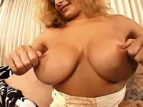 Blonde busty milf sucks cock and gets anal fingering