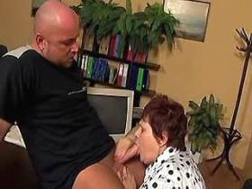 Fat mature gets cock in all holes on office table