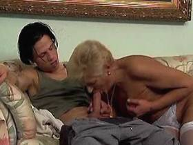 Aged mature rides cock and fucks from behind on sofa