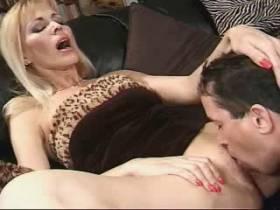 Blond milf gets facial after hard fuck from behind