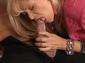 Beautiful blond milf gives blowjob and jumps on cock