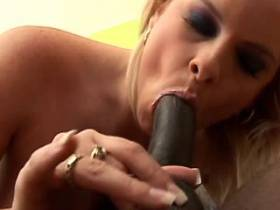 Blond chubby milf fucks with blacky and drinks cum