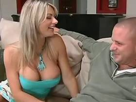 Blonde beautiful milf with great tits sucks big dick