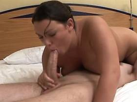 Chubby mature fucks and gets cumshot on big tits