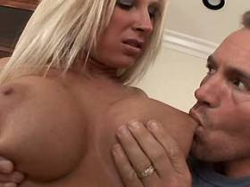 Blonde milf gets titsfuck and fucks from behind
