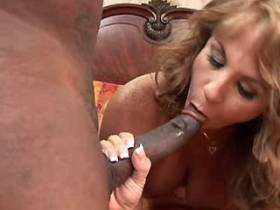 Mature sucks out cum from big black dick after sex