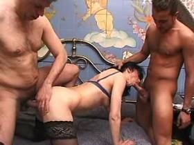 Mature fucks in all holes and gets facials in orgy