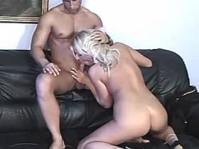Blonde milf fucks in all poses and gets cum in mouth