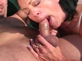 Milf fucks in diff poses and gets facial outdoor