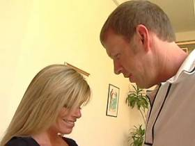 Beautiful blonde milf does blowjob with big pleasure