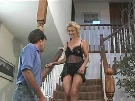 Mature does blowjob and gets fingering on stairs