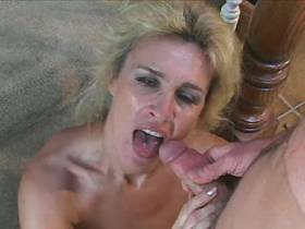 Blonde mature has hot fuck on stairs and gets facial