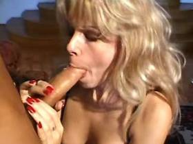 Beautiful blonde mature tastes cum after hard fuck